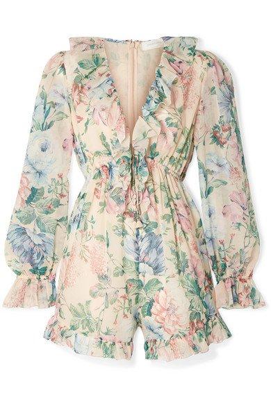 Zimmermann   Verity ruffle-trimmed floral-print cotton and silk-blend chiffon playsuit   NET-A-PORTER.COM