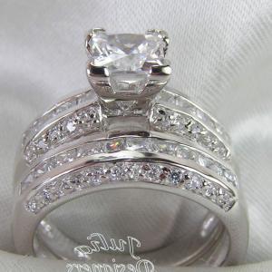 Princess Cut Diamond Tiny Square Diamond Bands Solitaire Wedding Ring Sets | MyShopLah