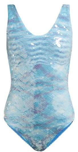 Mare - Sequinned Variegated Knit Swimsuit - Womens - Light Blue