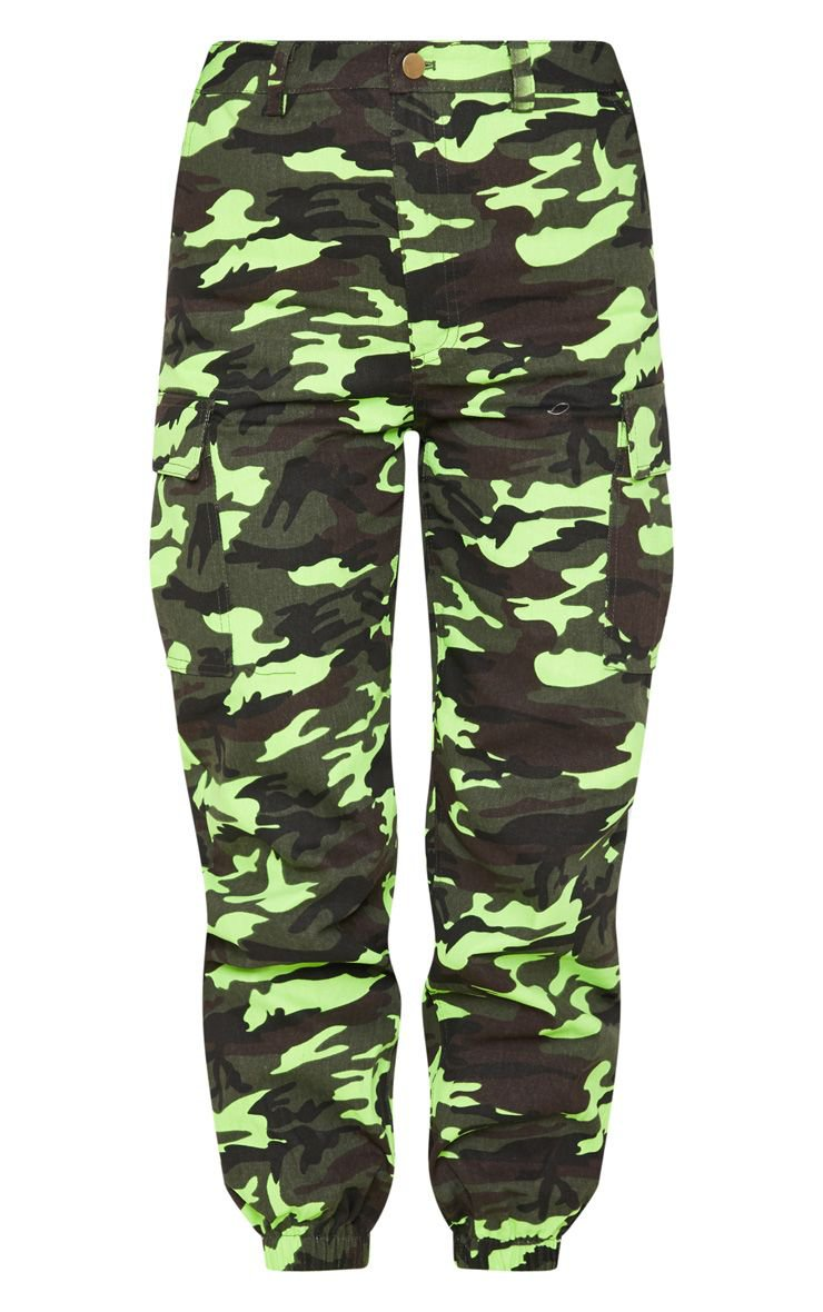 Neon Lime Camo Pocket Cargo Trouser | PrettyLittleThing USA