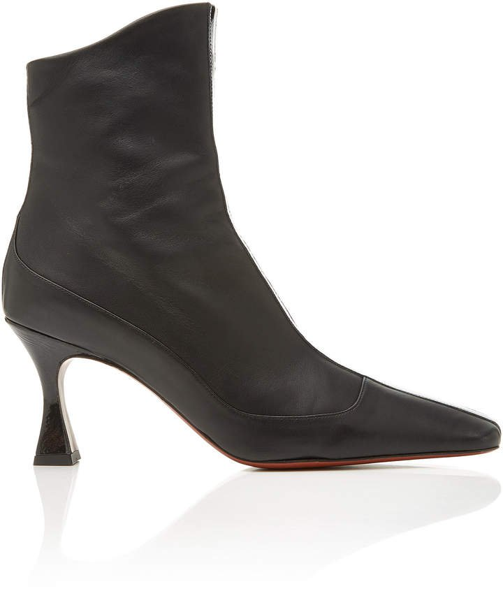 Manu Duck Patent Leather-Trimmed Ankle Boots