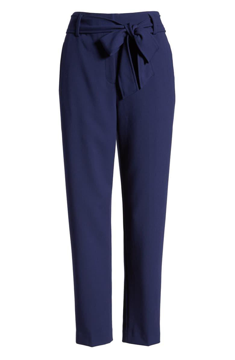 Halogen® Tie Waist Twill Pants (Petite) | Nordstrom