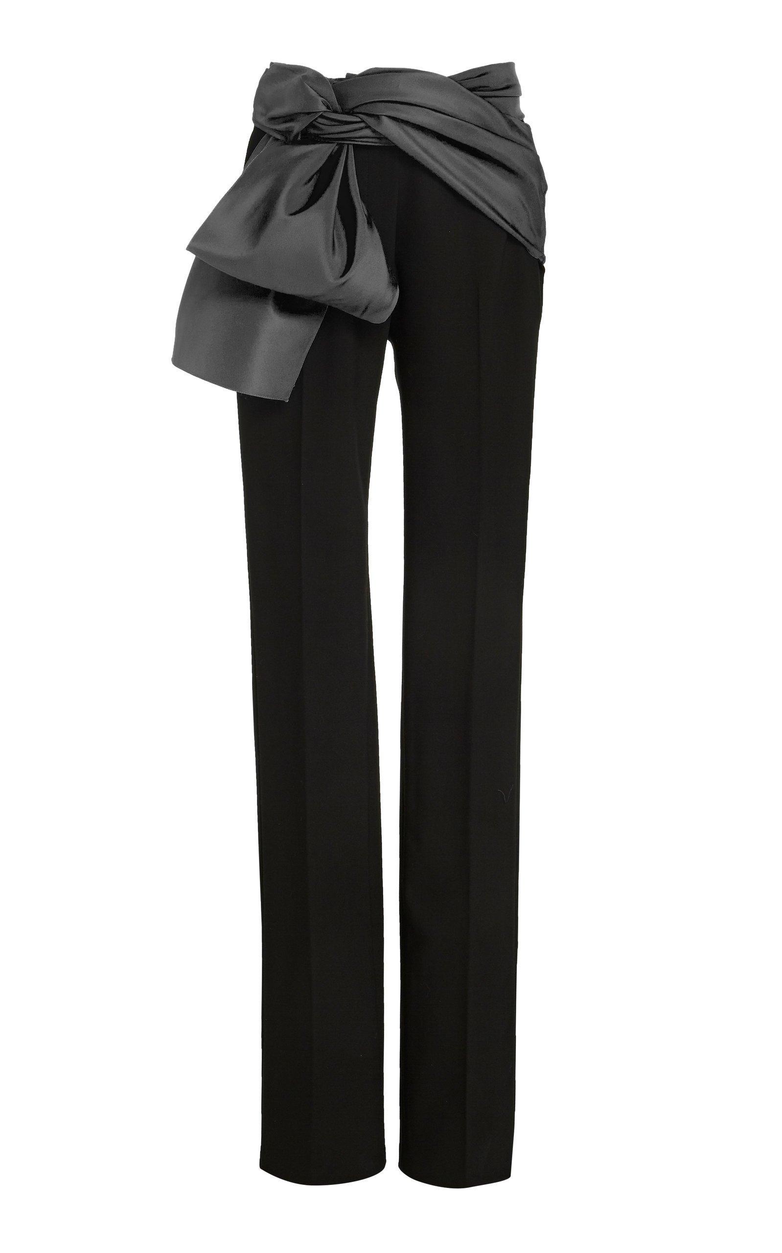 Carolina Herrera Satin-Trimmed Crepe Straight-Leg Pants Size: 8