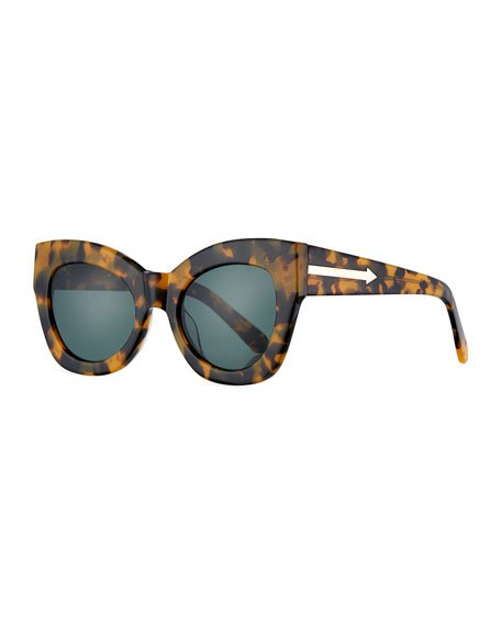 Karen Walker Northern Lights Cat-Eye Sunglasses, Brown | Neiman Marcus