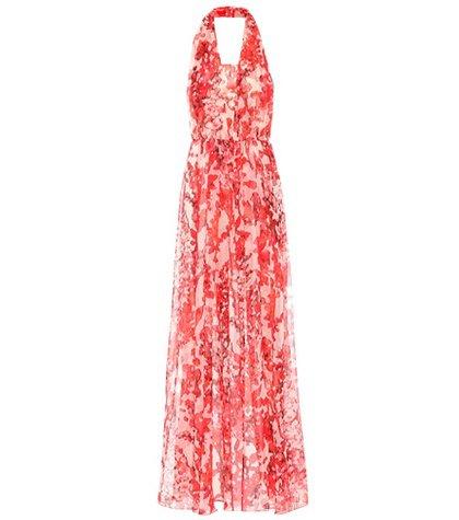 Floral silk halter maxi dress