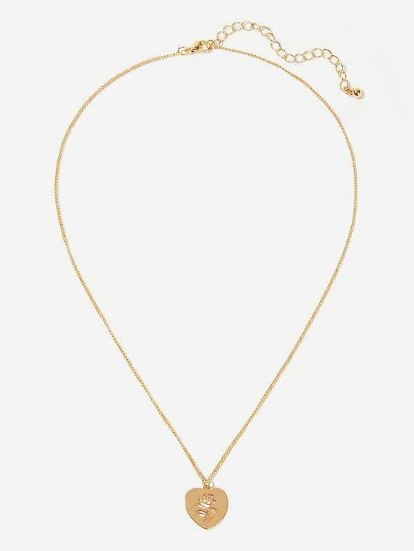 Rose Engraved Heart Pendant Necklace | SHEIN