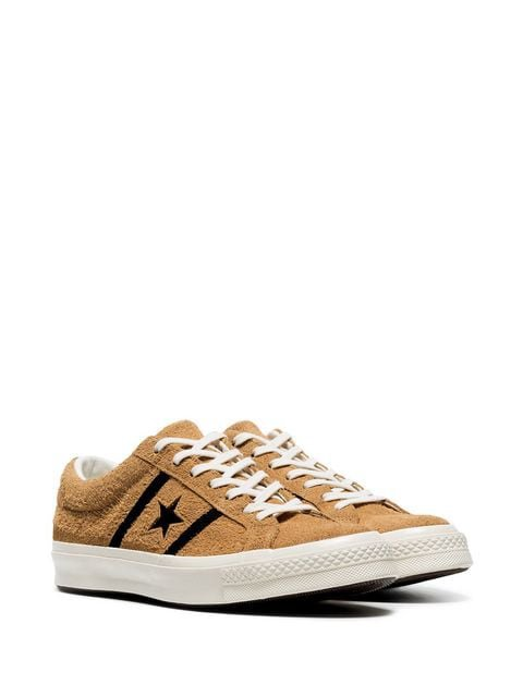 Converse tan and black one star academy suede leather low top sneakers