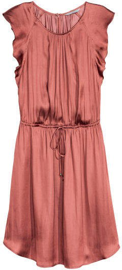 Dress with Ruffled Sleeves - Pink