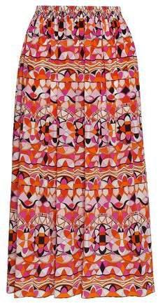 Gathered Printed Silk Midi Skirt