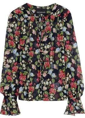 Bow-detailed Floral-print Silk-chiffon Blouse