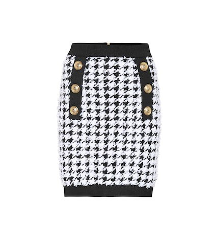 Houndstooth tweed miniskirt