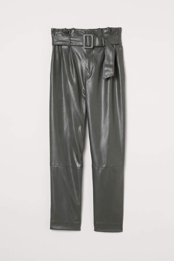 Ankle-length Pants with Belt - Beige