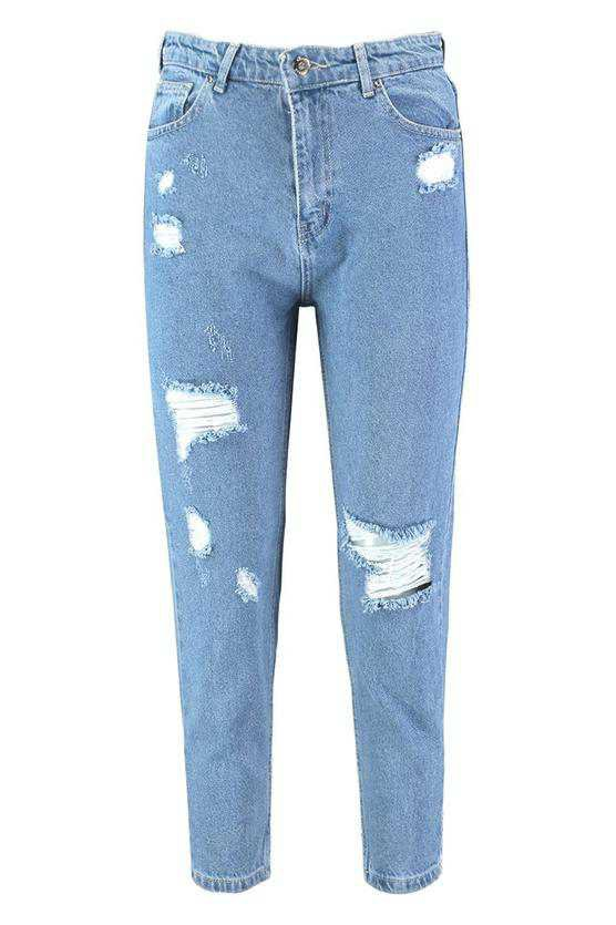 Sophie High Waisted Distressed Mom Jeans | Boohoo