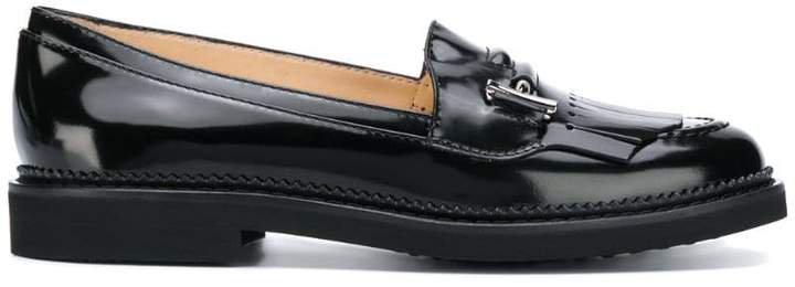 logo fringed loafers