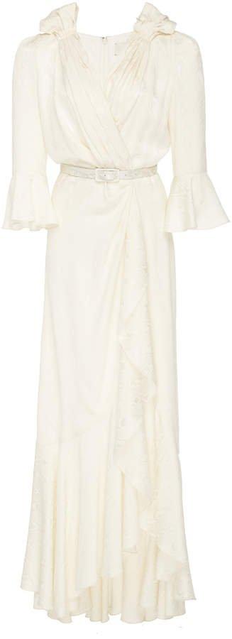 Marina Silk-Effect Jacquard Maxi Dress