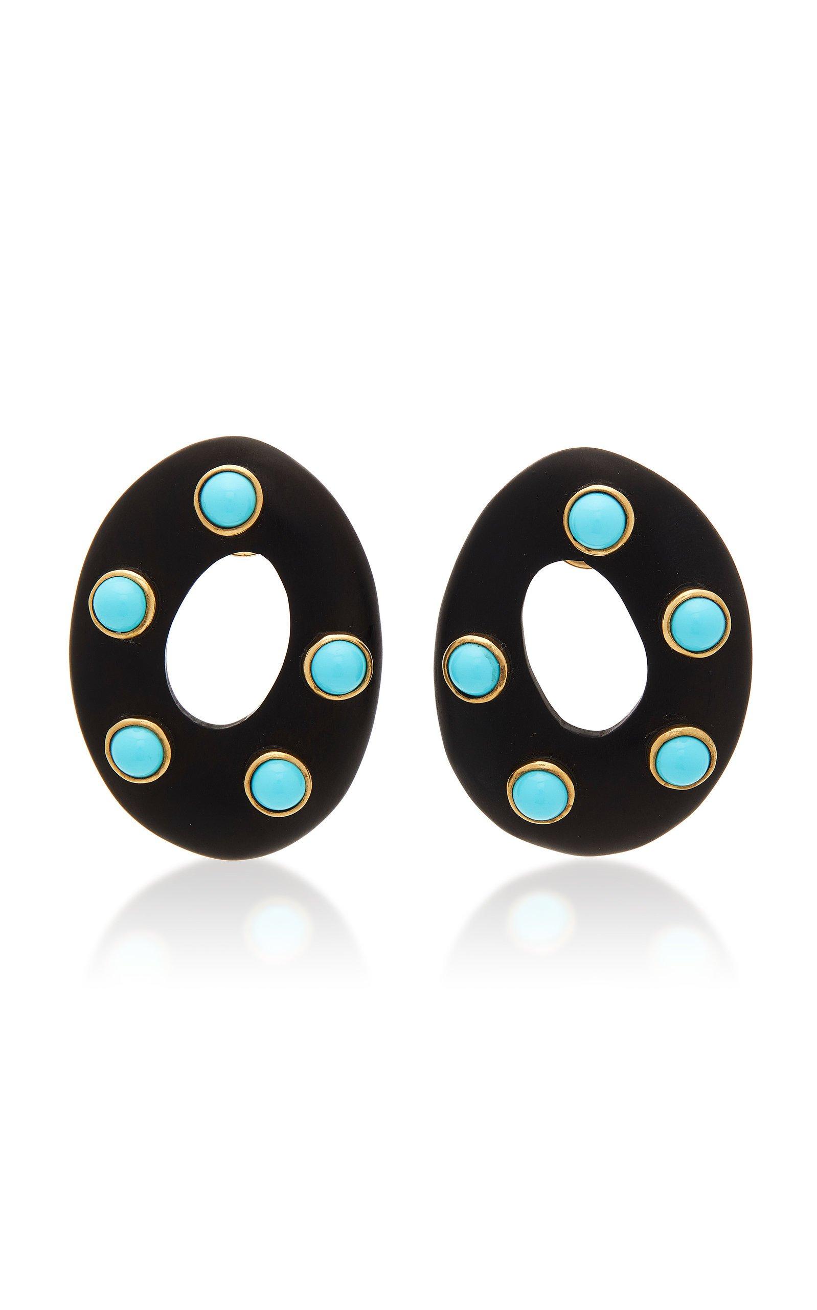 Grazia & Marica Vozza Earrings Ebony Oval & Stone