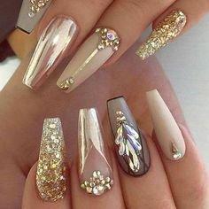 Pinterest - Rose Gold Coffin Nails by MargaritasNailz | Nail Art & Designs