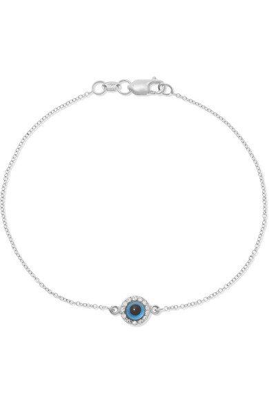 Ileana Makri | Double Eye 18-karat white gold, diamond and glass bracelet | NET-A-PORTER.COM