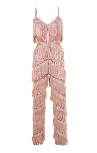 Clothing : Jumpsuits : 'Marcella' Pink Fringed Jumpsuit