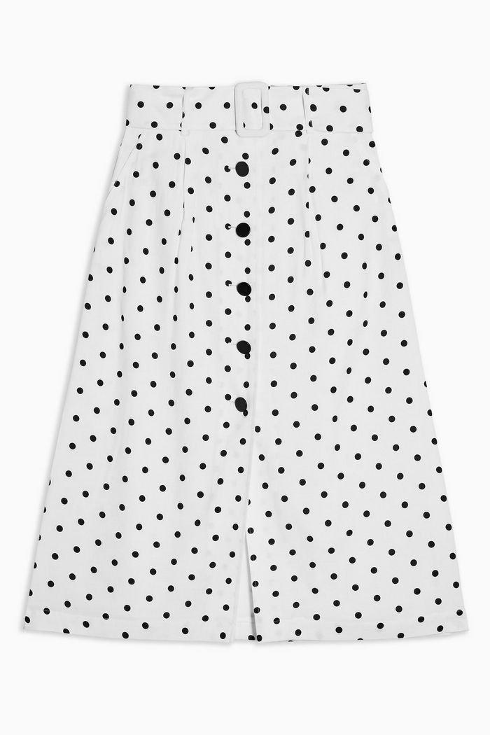 Black And White Belted Spot Midi Skirt | Topshop white