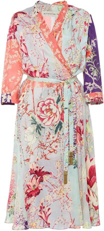 Floral-Patterned Silk-Blend Wrap Dress