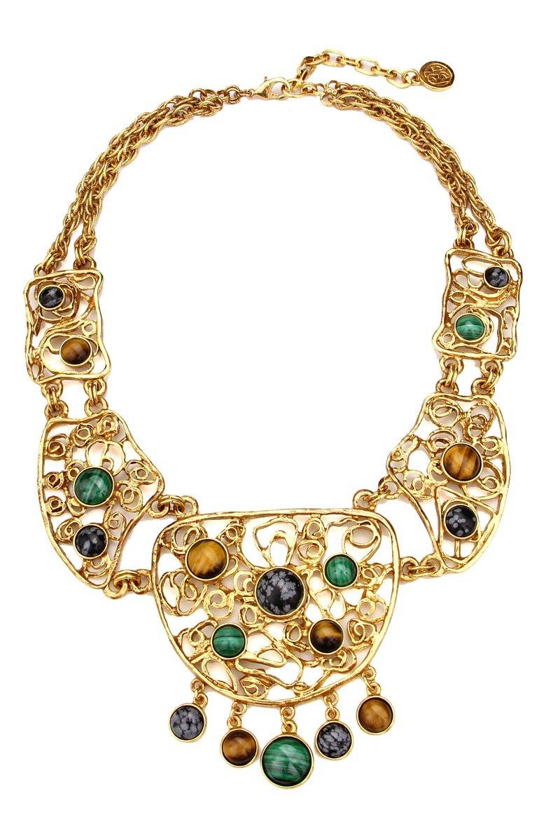 Ben-Amun Multicolor Golden Lace Bib Necklace   Nordstrom