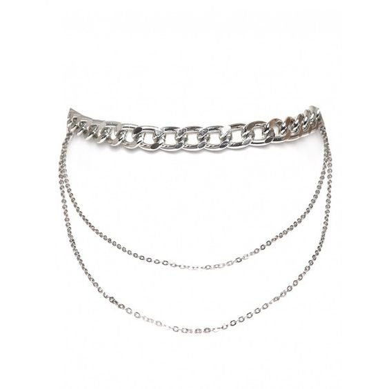 Exhale Triple Chain Linked Detail Choker In Silver