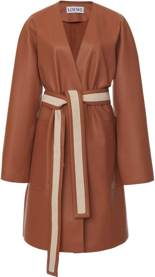 Loewe Leather Belted Coat Size: 34