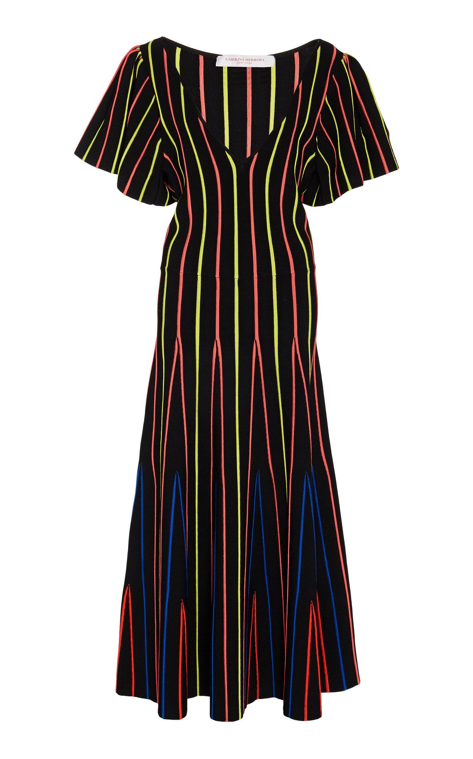 Carolina Herrera Striped Stretch-Knit Midi Dress