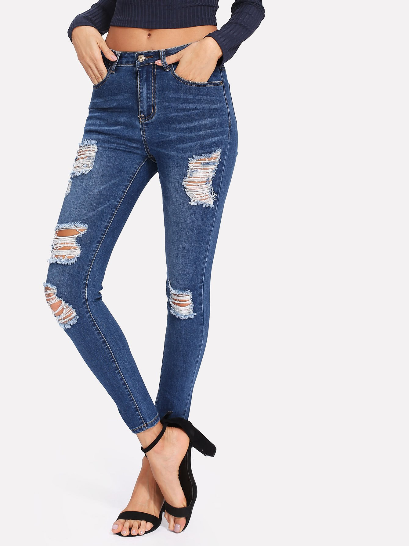Bleach Wash Shredded Skinny Jeans