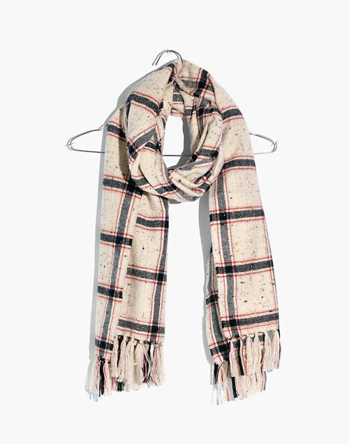 Knotted Fringe Scarf in Hanstone Plaid