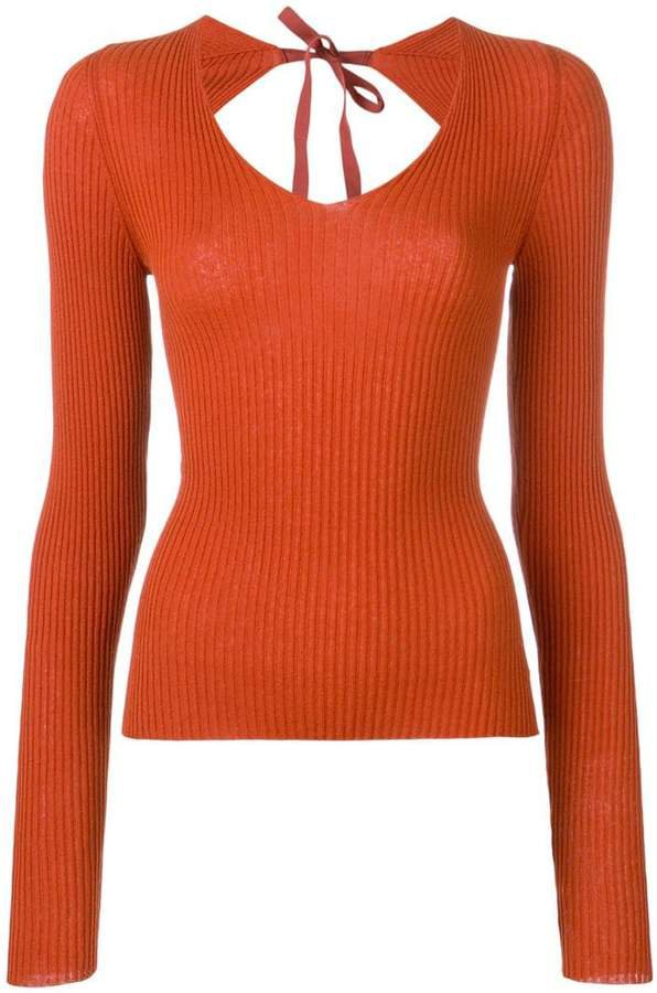 open back ribbed knit top