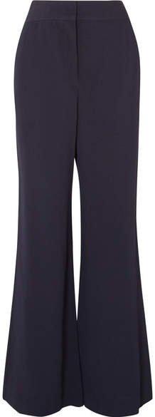 Crepe Wide-leg Pants - Navy