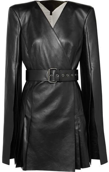 Belted Leather Wrap-effect Mini Dress - Black