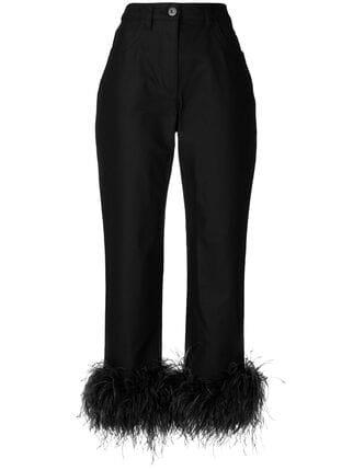Prada High Waisted Feather Trim Trousers - Farfetch