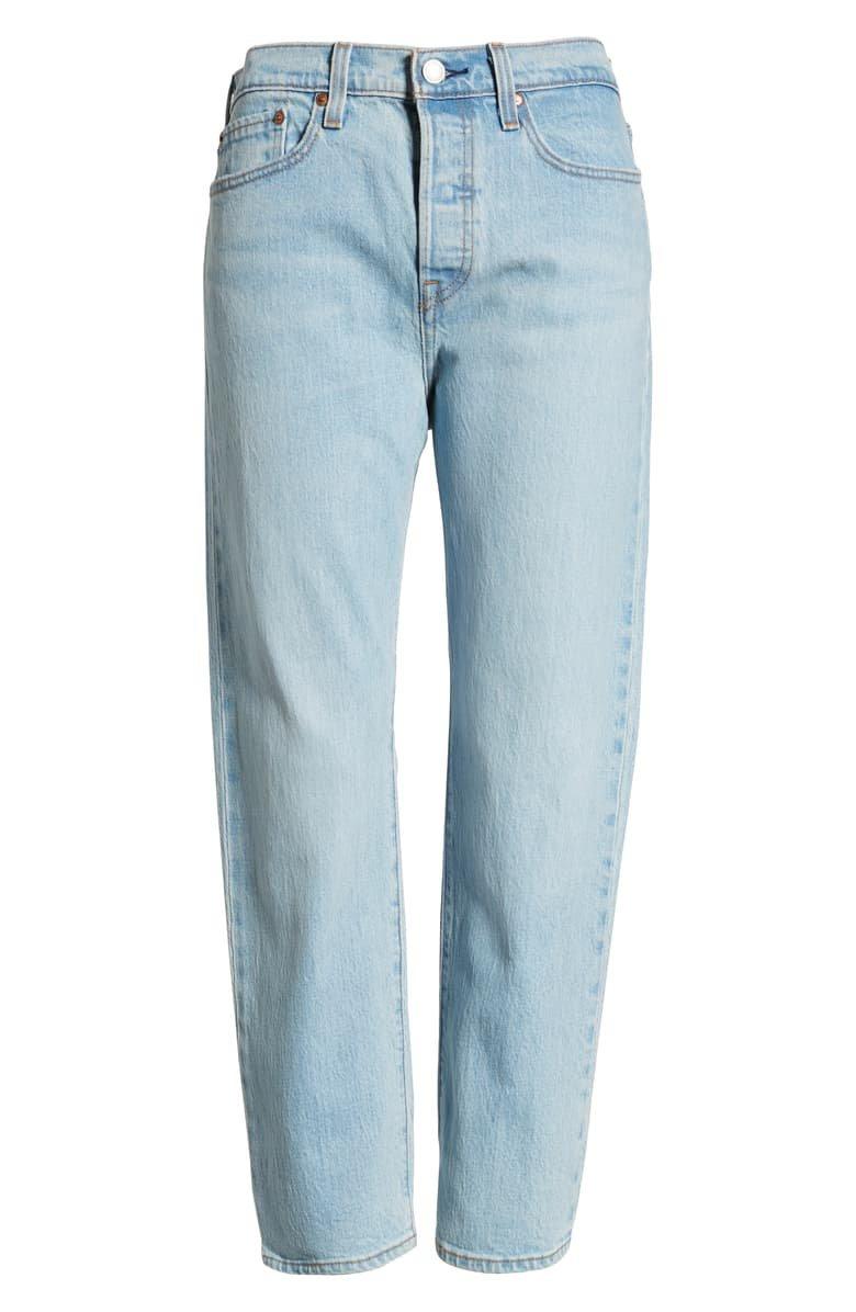 Levi's® Wedgie High Waist Frayed Crop Straight Leg Jeans (Dibs) | Nordstrom