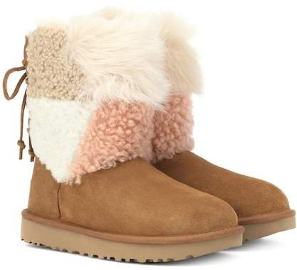 Classic Short Patchwork Fluff ankle boots