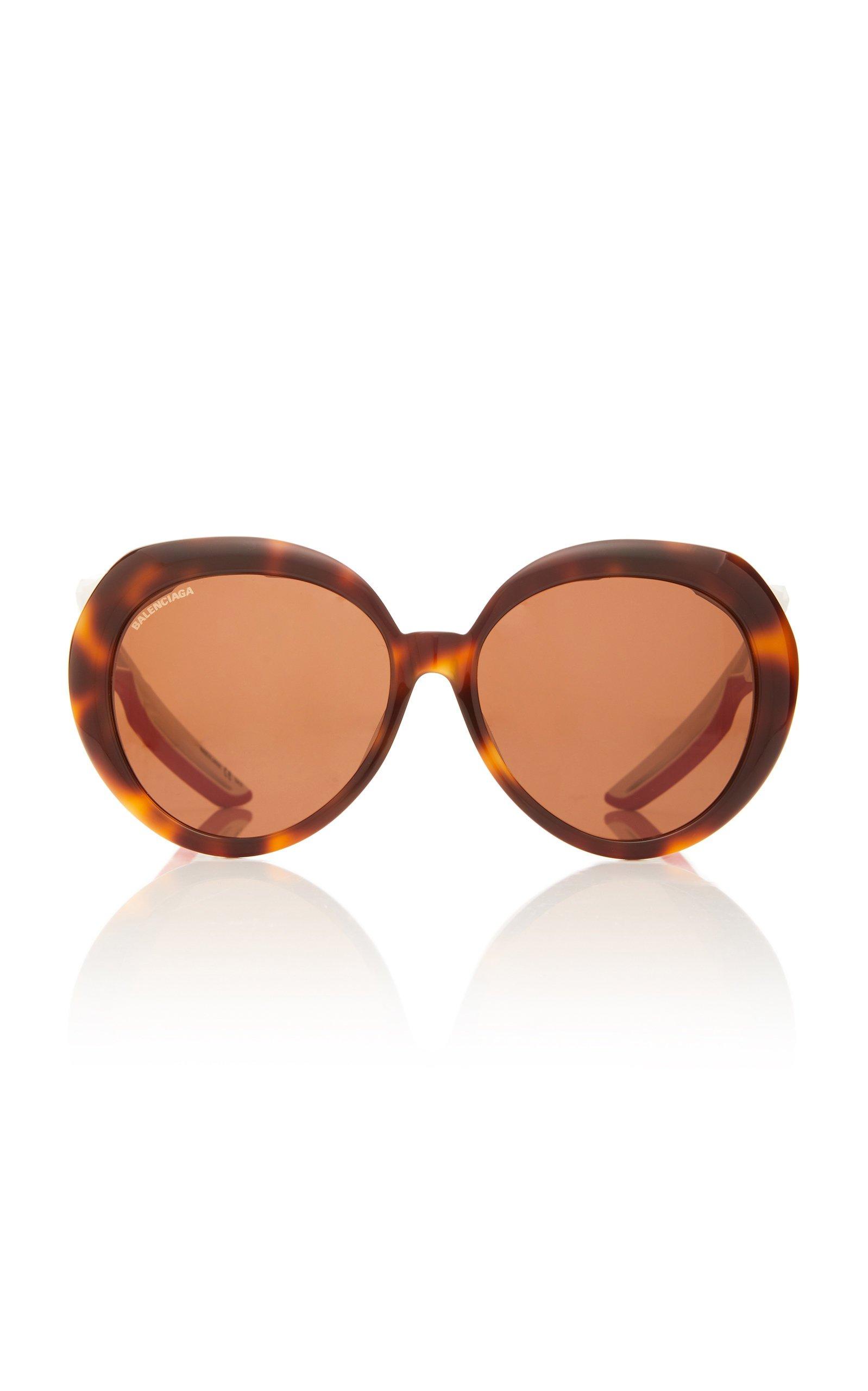 Balenciaga Hybrid Acetate Oversized Round-Frame Sunglasses