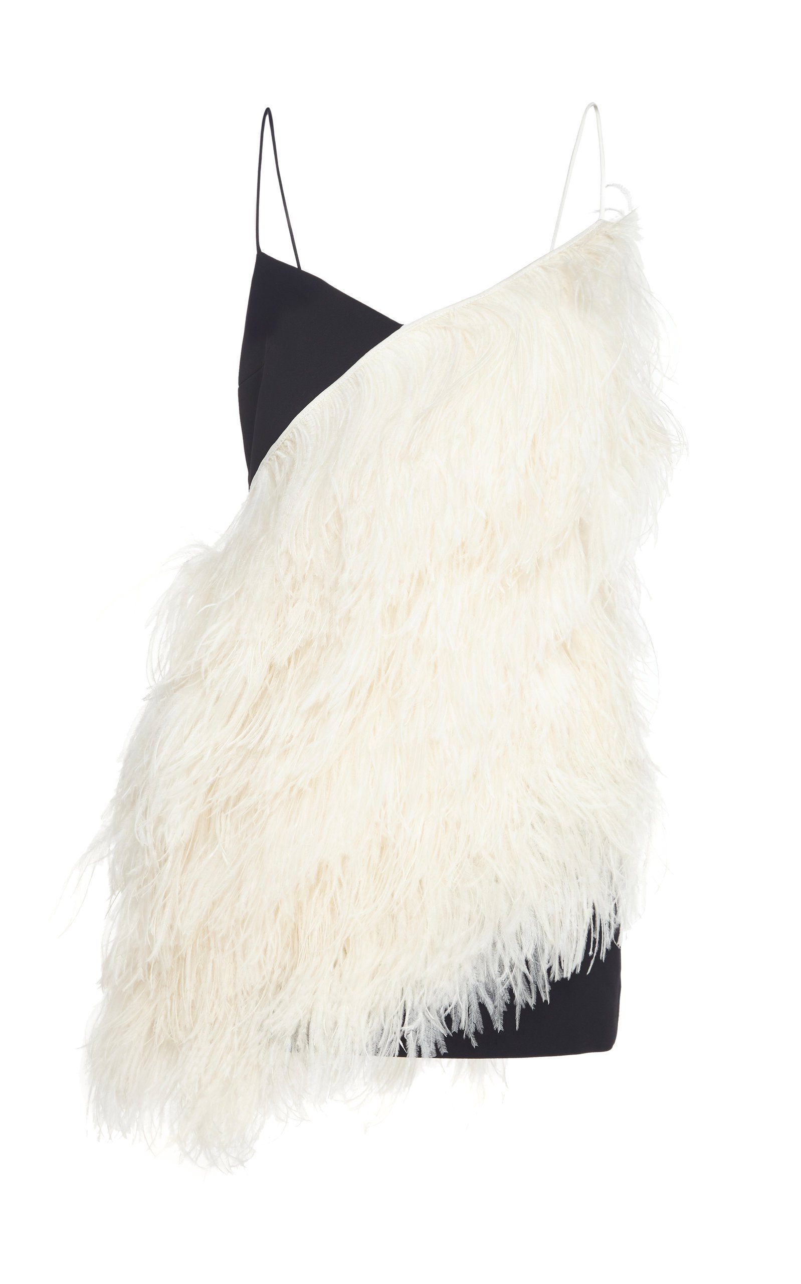 David Koma Feather Two-Toned Mini Dress