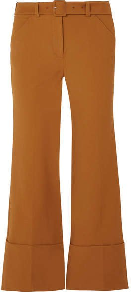 Cropped Crepe Flared Pants - Brown