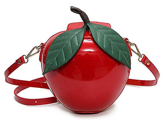 Fashion Apple Shape PU Leather Handbag Cartoon Shoulder Bags Purse - Red / Green: Handbags: AmazonSmile