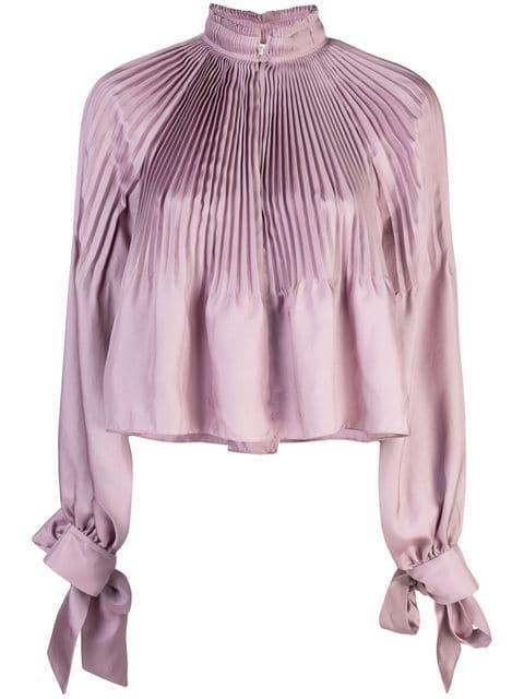 Tibi Mendini Twill Cropped Edwardian Top - Farfetch