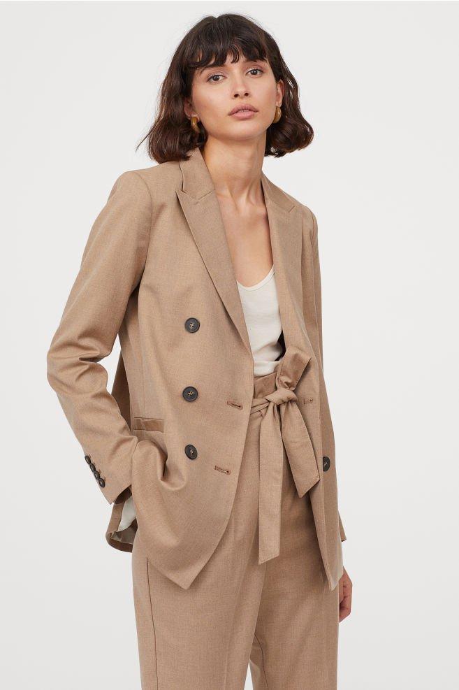 Double-breasted Jacket - Dark beige - Ladies | H&M US