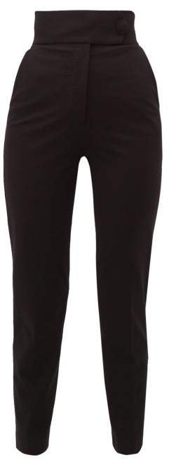 High Rise Jersey Trousers - Womens - Black