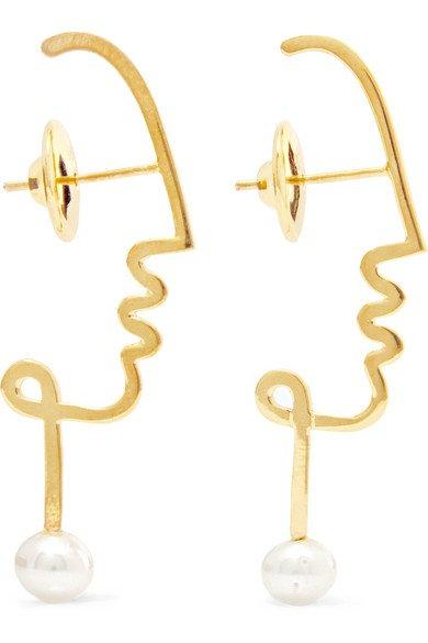 Paola Vilas | Henri gold-plated pearl earrings | NET-A-PORTER.COM