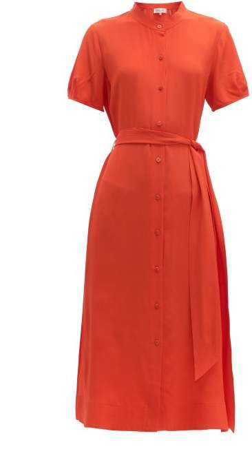 Mia Belted Silk Crepe Midi Dress - Womens - Orange