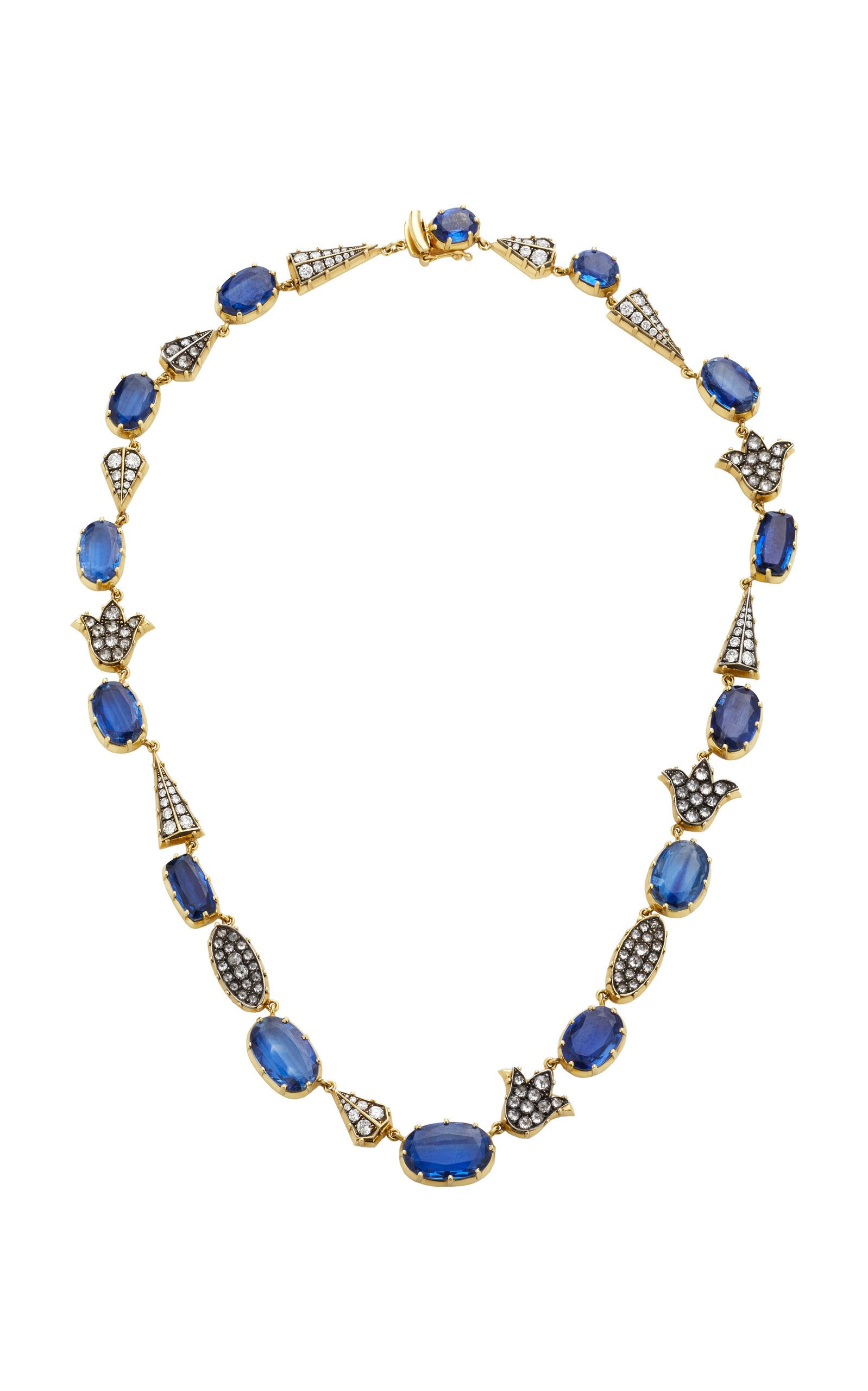 Sylva & Cie 18K Gold Sterling Silver Diamond and Kyanite Necklace