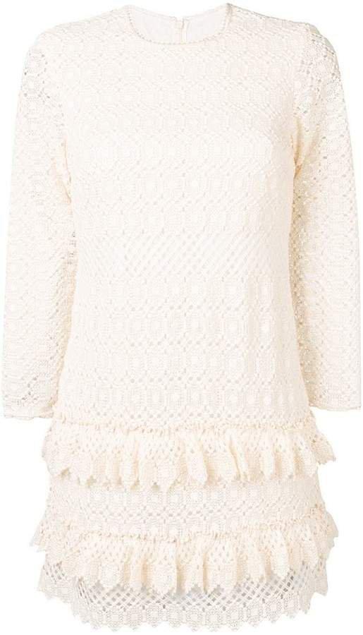 ruffle detail crochet dress