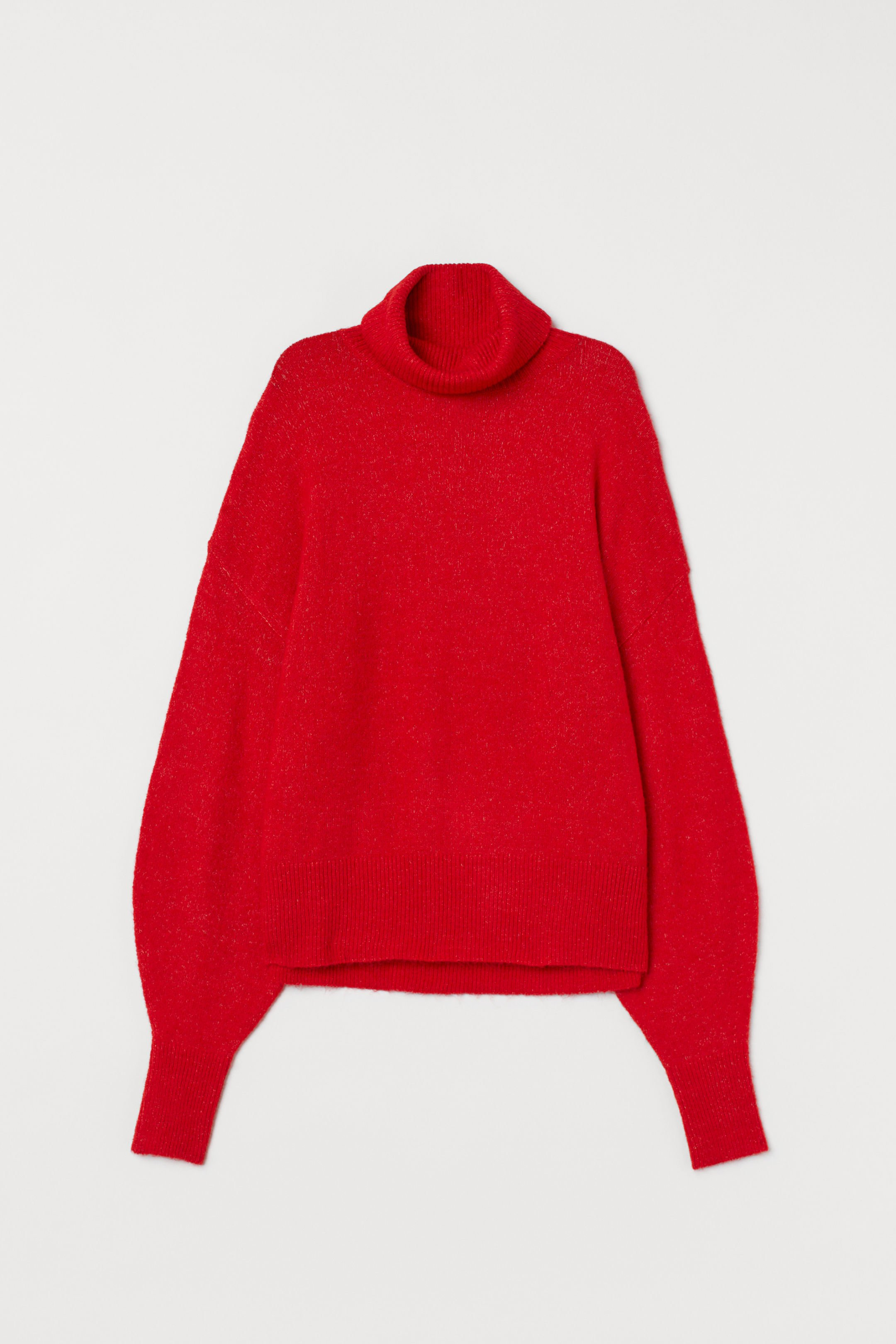 Fine-knit polo-neck jumper - Red marl - Ladies | H&M