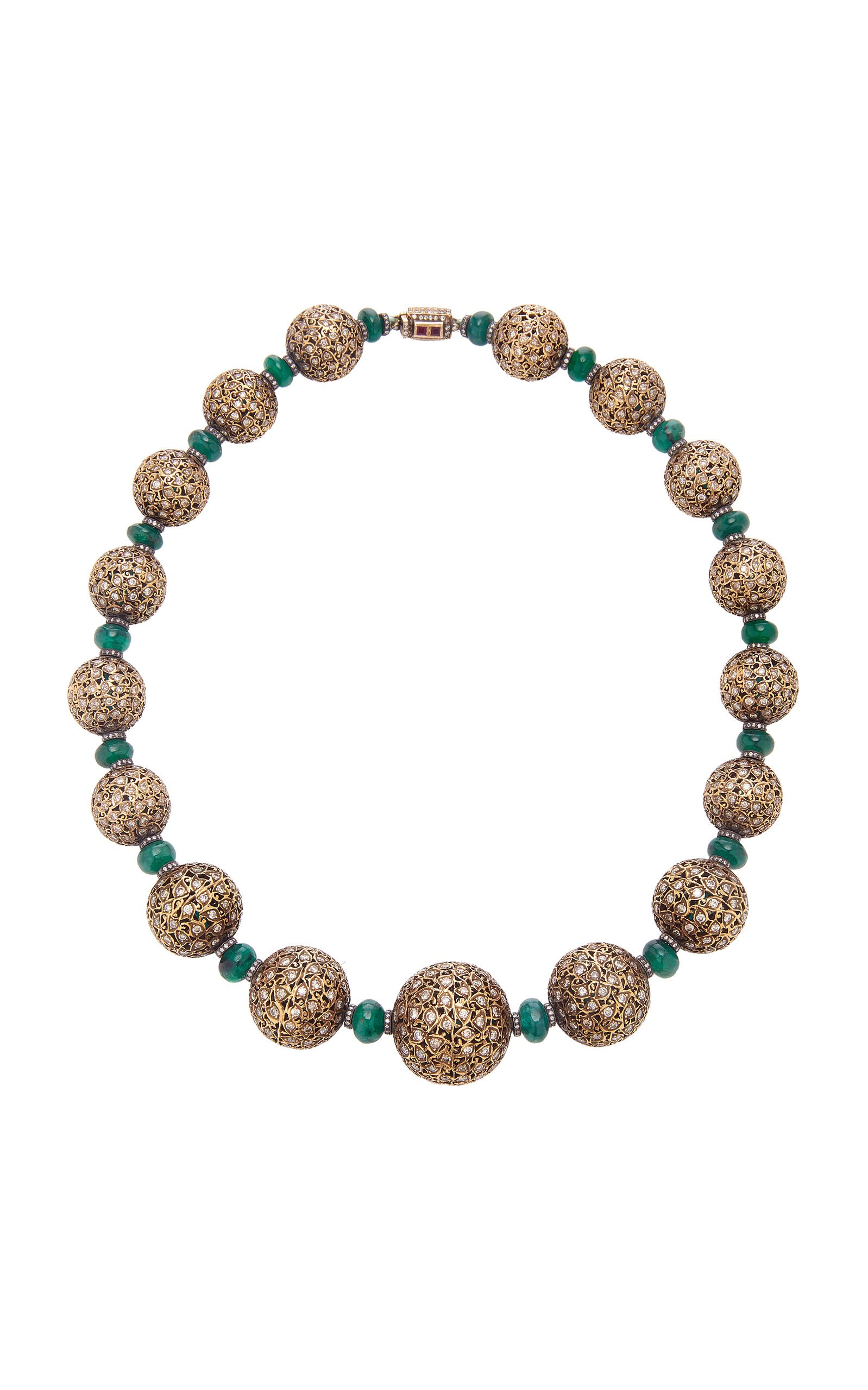 18K Gold, Emerald And Diamond Necklace by Sanjay Kasliwal | Moda Operandi